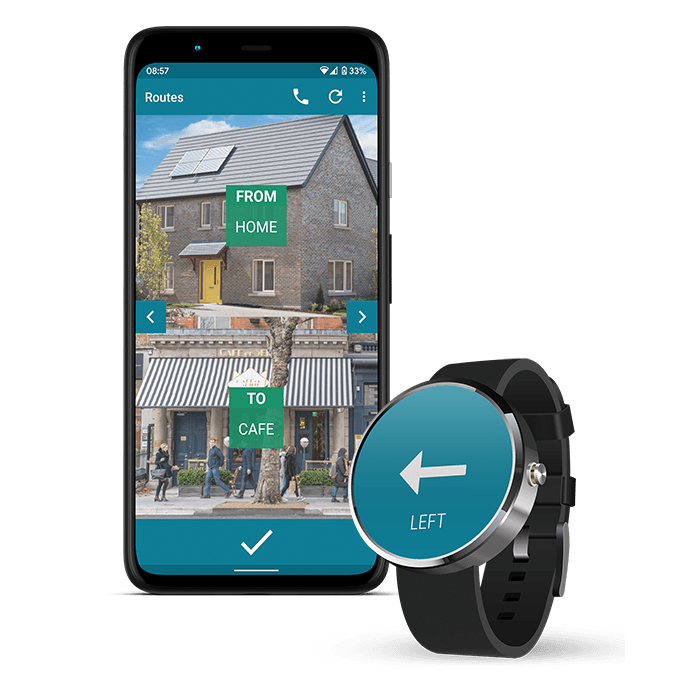 Image of phone showing a route on the waytoB app. It says 'from home to cafe' and contains two pictures, one of a house and another of a cafe. There is also a watch showing an 'turn left' icon, which is an arrow pointing left.