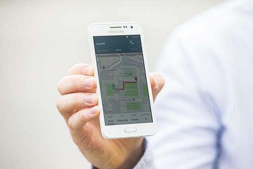 Phone showing user's location on a map